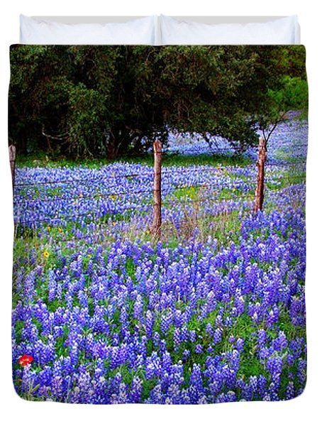 Hill Country Heaven - Texas Bluebonnets wildflowers landscape fence flowers Duvet Cover by Jon Holiday