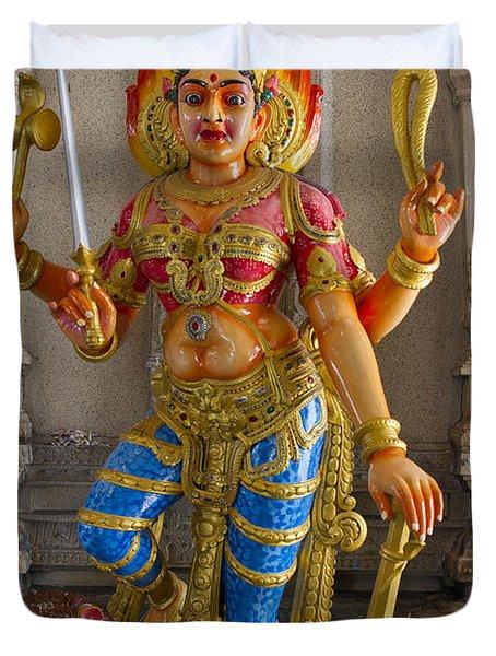 Hindu Goddess Durga On Lion Duvet Cover by David Gn