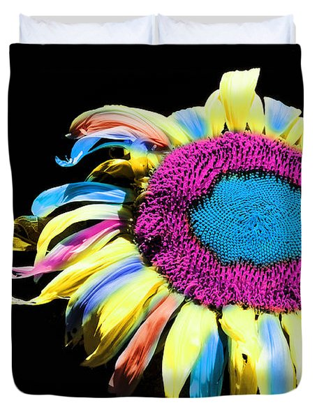 Hippie Sunflower Rainbow Painterly Duvet Cover by Andee Design