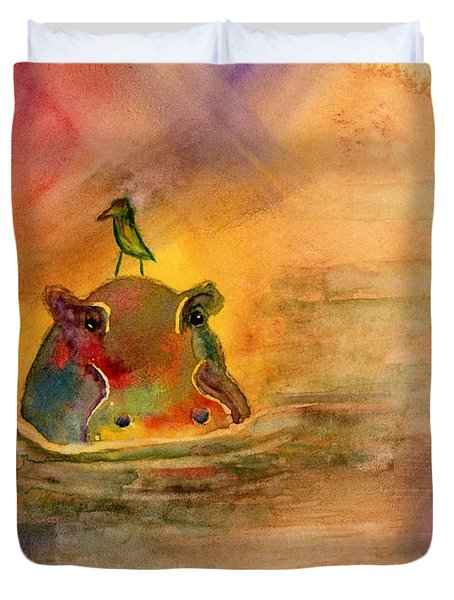 Hippo Birdie Duvet Cover by Amy Kirkpatrick