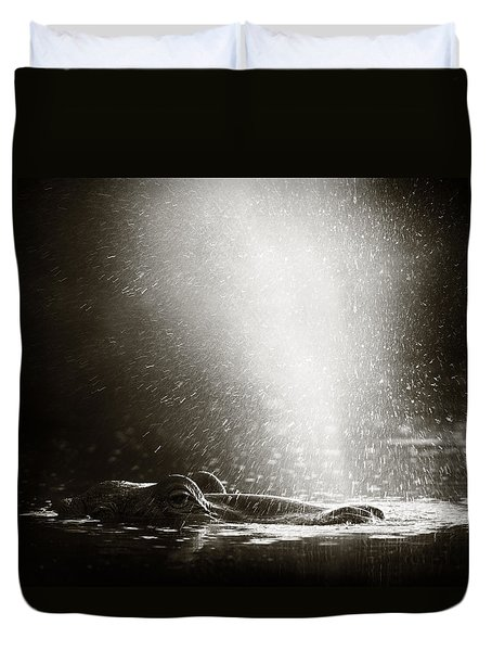 Hippo Blowing  Air Duvet Cover by Johan Swanepoel
