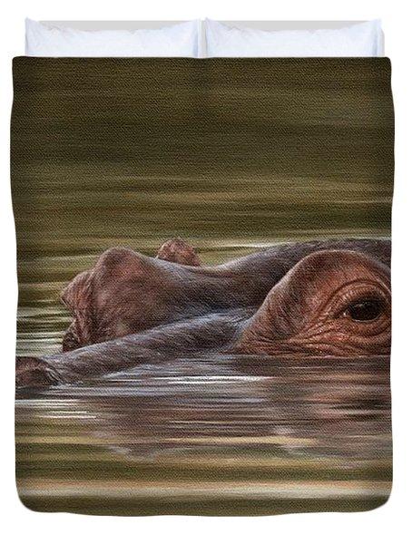 Hippo Painting Duvet Cover by Rachel Stribbling