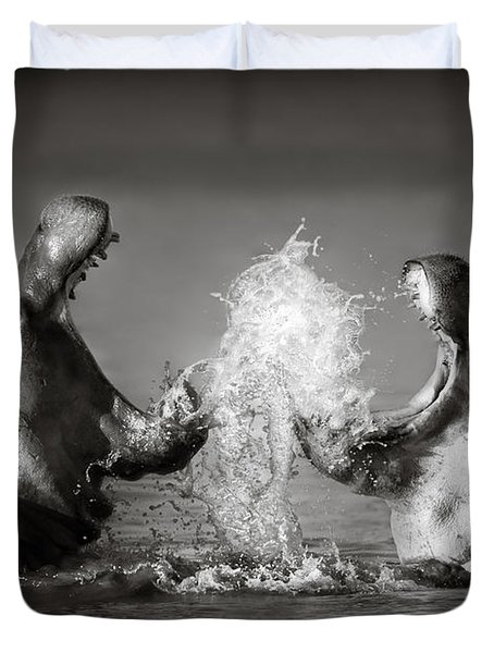 Hippo's fighting Duvet Cover by Johan Swanepoel