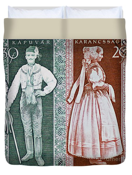 His And Hers Traditional Costumes Duvet Cover by Andy Prendy