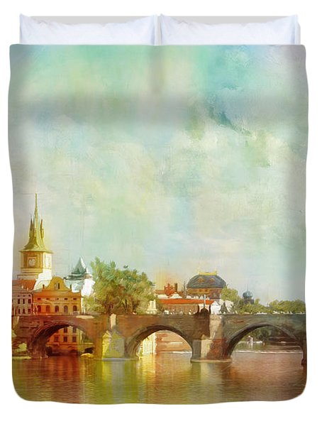 Historic Centre of Prague  Duvet Cover by Catf