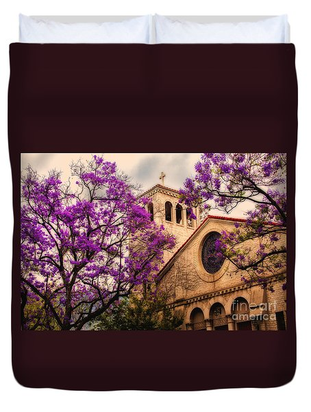 Historic Sierra Madre Congregational Church Among The Purple Jacaranda Trees  Duvet Cover by Jerry Cowart