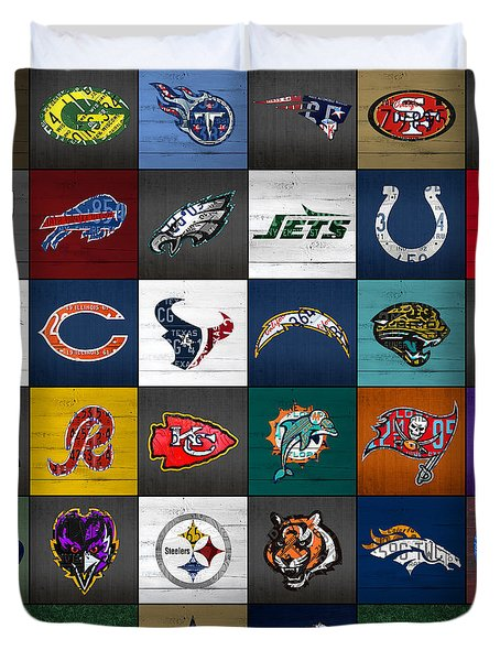 Hit The Gridiron Football League Retro Team Logos Recycled Vintage License Plate Art Duvet Cover by Design Turnpike