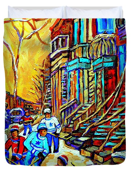 HOCKEY ART MONTREAL WINTER SCENE WINDING STAIRCASES KIDS PLAYING STREET HOCKEY PAINTING  Duvet Cover by CAROLE SPANDAU