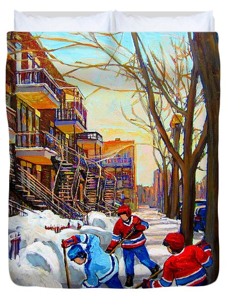 Hockey Art - Paintings Of Verdun- Montreal Street Scenes In Winter Duvet Cover by Carole Spandau