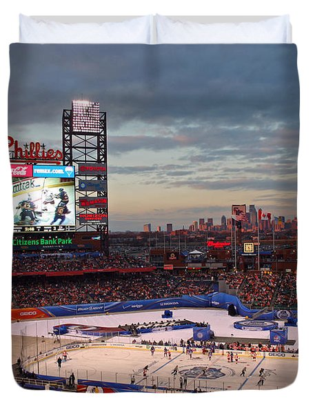 Hockey At The Ballpark Duvet Cover by David Rucker