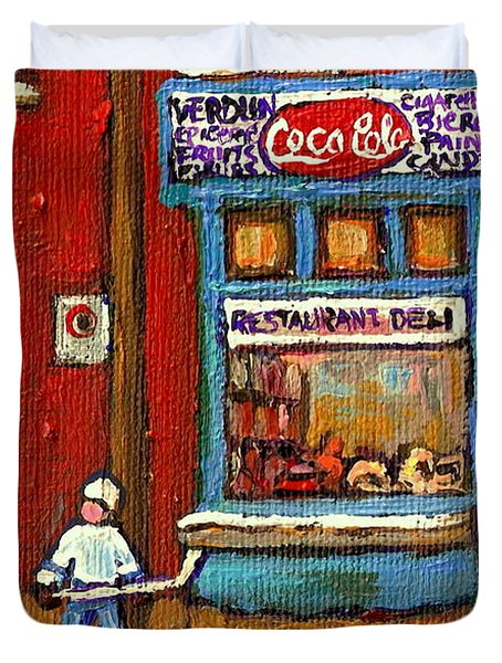 Hockey Game At The Corner Kik Cola Depanneur  Resto Deli  - Verdun Winter Montreal Street Scene  Duvet Cover by Carole Spandau