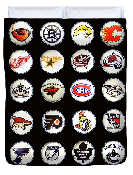 Hockey League Logos Bottle Caps Duvet Cover by Barbara Griffin
