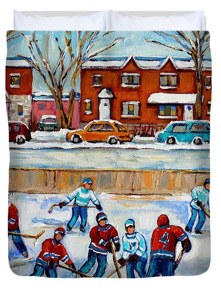 HOCKEY RINK AT VAN HORNE MONTREAL Duvet Cover by CAROLE SPANDAU