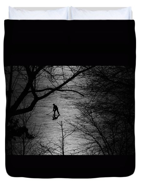 Hockey Silhouette Duvet Cover by Andrew Fare
