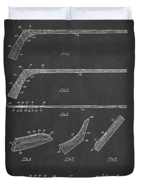 Hockey Stick Patent Drawing From 1934 Duvet Cover by Aged Pixel