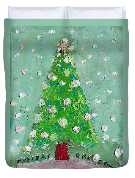 Holiday Greeting Duvet Cover by Becky Kim