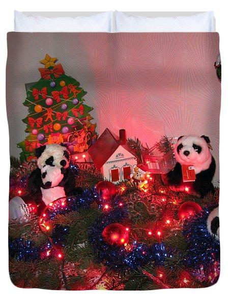 Holidays In Pandaland Duvet Cover by Ausra Huntington nee Paulauskaite