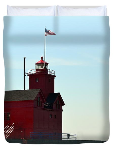 Holland Harbor Light Vignette Duvet Cover by Michelle Calkins