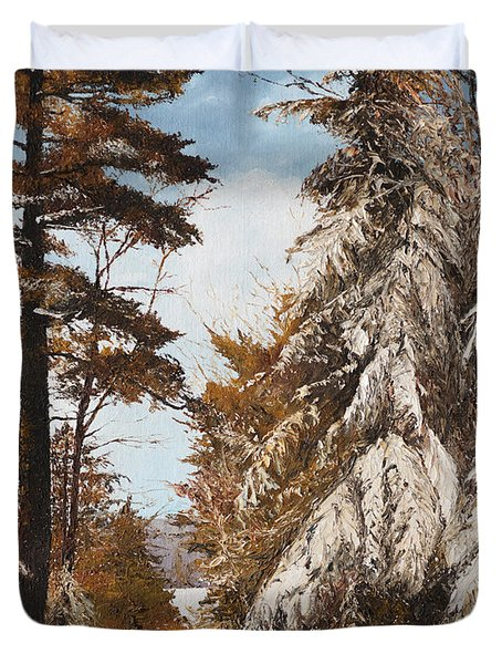 Holland Lake Lodge Road - Montana Duvet Cover by Mary Ellen Anderson