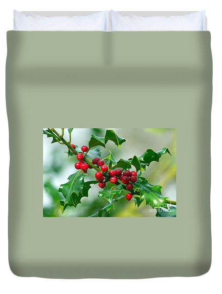 Holly Berries Duvet Cover by Sharon Talson
