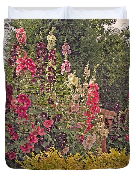 Hollyhocks Duvet Cover by Kay Novy