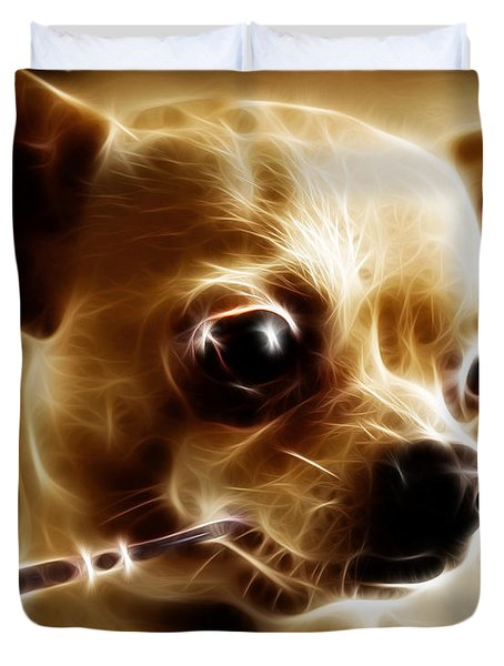 Hollywood Fifi Chika Chihuahua - Electric Art - With Text Duvet Cover by Wingsdomain Art and Photography