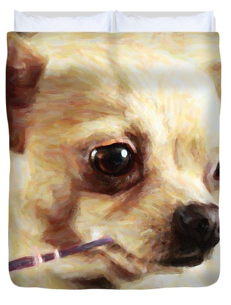 Hollywood Fifi Chika Chihuahua - Painterly Duvet Cover by Wingsdomain Art and Photography
