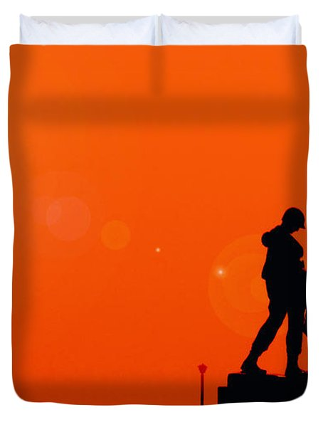 Holocaust Memorial - Sunset Duvet Cover by Nishanth Gopinathan