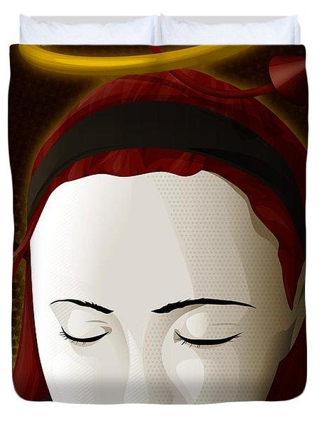 Holy Mary Duvet Cover by Sandra Hoefer