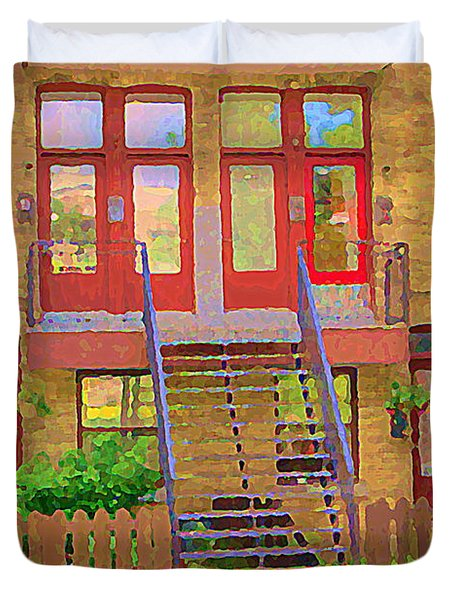 Home Sweet Home Red Wooden Doors The Walk Up Where We Grew Up Montreal Memories Carole Spandau Duvet Cover by Carole Spandau