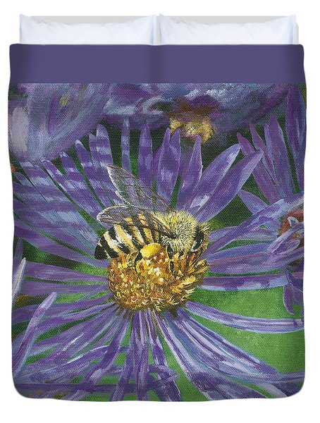 Honeybee On Purple Aster Duvet Cover by Lucinda V VanVleck
