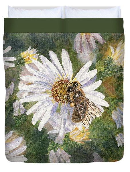 Honeybee On White Aster Duvet Cover by Lucinda V VanVleck