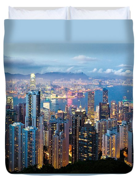 Hong Kong At Dusk Duvet Cover by Dave Bowman