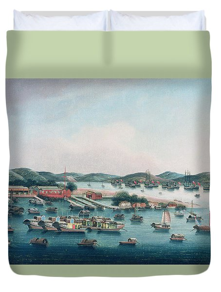 Hong Kong Harbor Duvet Cover by Cantonese School