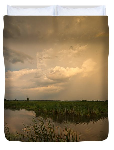 Horicon Marsh Storm Duvet Cover by Steve Gadomski