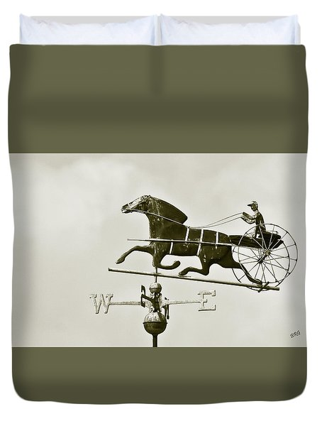 Horse And Buggy Weathervane In Sepia Duvet Cover by Ben and Raisa Gertsberg