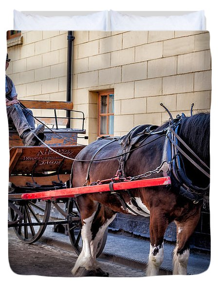 Horse And Cart Duvet Cover by Adrian Evans