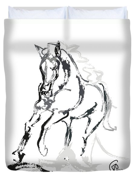 Horse- Andalusian Angel Duvet Cover by Go Van Kampen