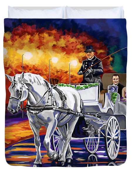 Horse Drawn Carriage Night Duvet Cover by Tim Gilliland