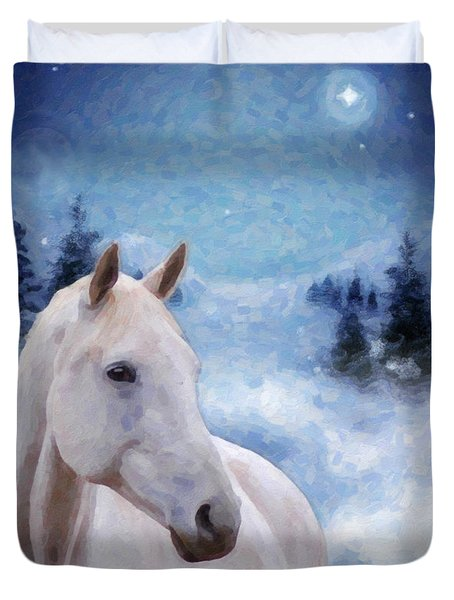 Horse In Winter Duvet Cover by Kenny Francis
