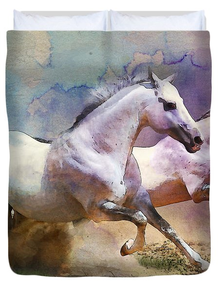 Horse Paintings 004 Duvet Cover by Catf