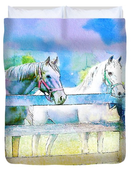 Horse Paintings 008 Duvet Cover by Catf