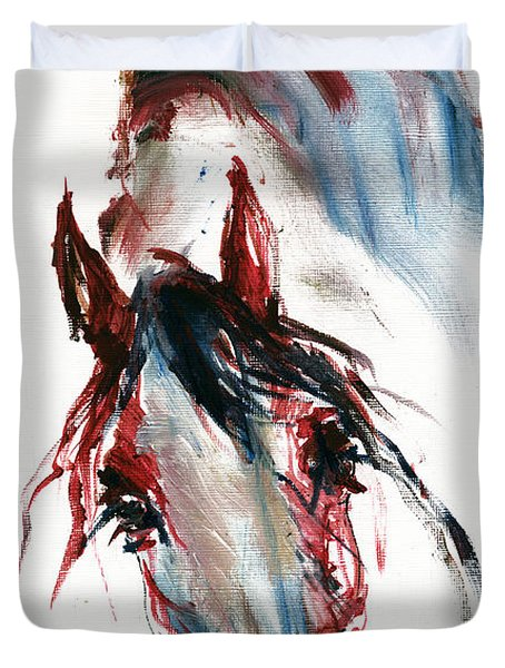 Horse Portrait Duvet Cover by Angel  Tarantella