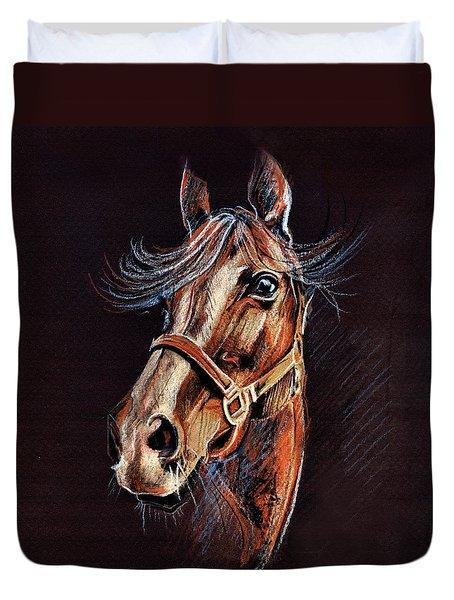 Horse Portrait  Duvet Cover by Daliana Pacuraru