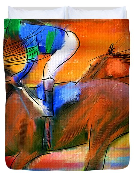 Horse Racing II Duvet Cover by Lourry Legarde
