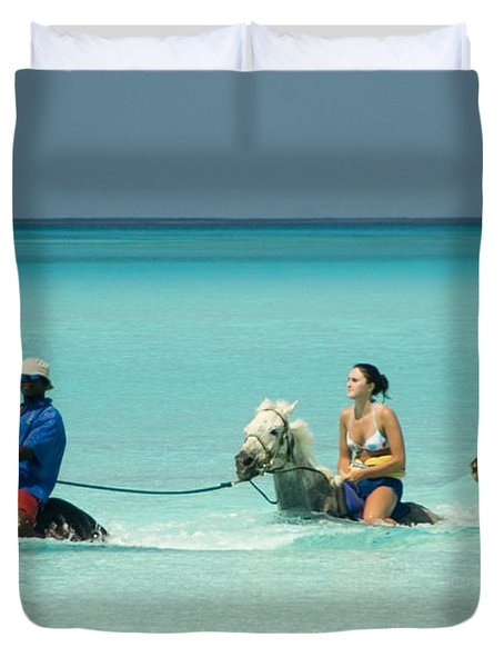 Horse Riders In The Surf Duvet Cover by David Smith