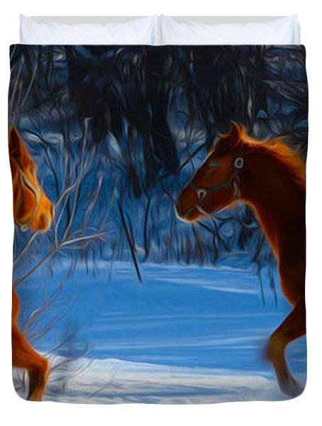 Horses at play Duvet Cover by Tracy Winter
