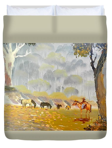 Horses Drinking In The Early Morning Mist Duvet Cover by Pamela  Meredith
