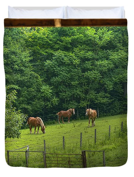 Horses Feeding In Field Duvet Cover by Dan Friend