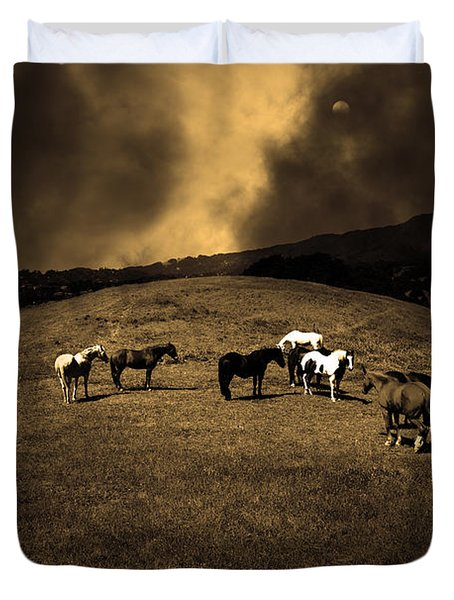 Horses of The Moon Mill Valley California 5D22673 sepia Duvet Cover by Wingsdomain Art and Photography